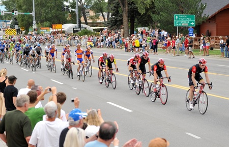 August 24, 2011 - Buena Vista, CO - Levi Leipheimer (yellow jersey) hangs with the Peloton in the middle of the second stage of the US Pro Cycling Challenge.  The second stage is known as the queens stage because of the challenging 130 miles, and 2 high