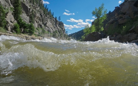 a close up view of a class IV rapid on the Arkansas River, CO