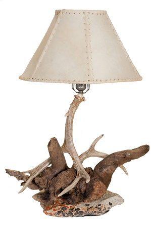 Rustic lamp made with antlers, driftwood and river rock Stock Photo - 16469217