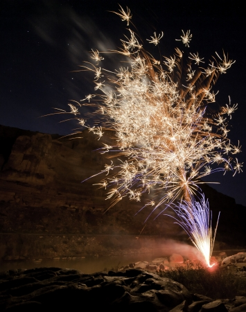 16 bit image of firework explosion in deep canyon