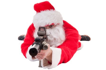 Santa shooting AR 15 in prone position - white isolation
