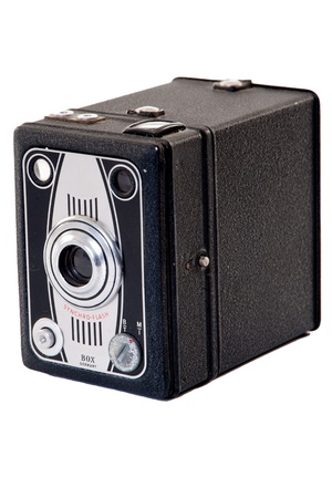 vintage box camera on white isolation 写真素材