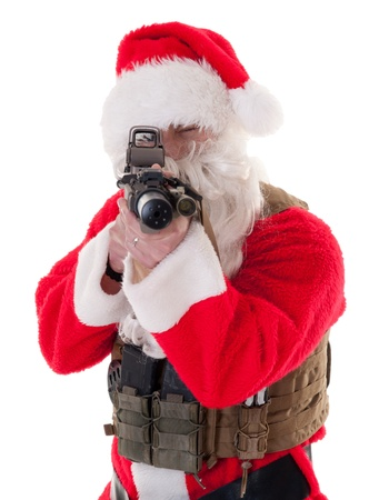 Santa pointing AR15 directly at camera - white isolation