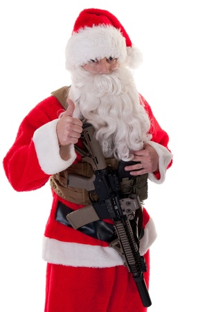 Santa holding AR15, giving viewer thumbs up - white isolation