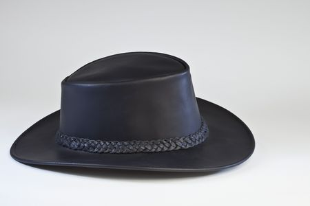 Black Leather Outback Style  Hat is great for business and dress wear as well as casual wear