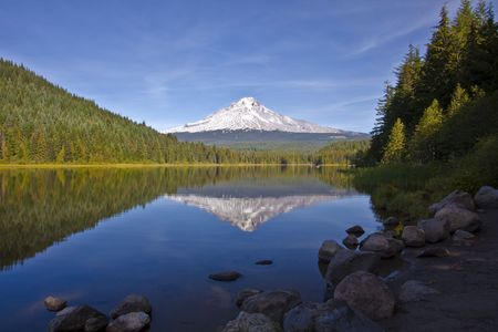 trillium lake: Mountain reflection in lake