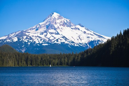 lost lake: Scenic view of Lost Lake and Mount Hood, Oregon, U.S.A.
