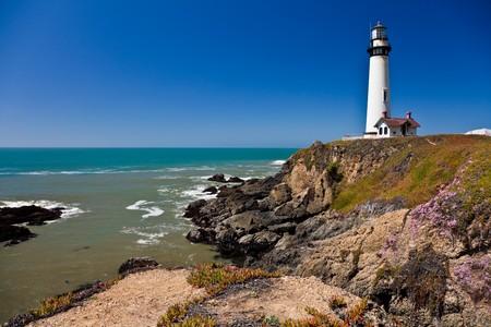 ピジョン ポイント灯台、太平洋、カリフォルニア、米国 写真素材