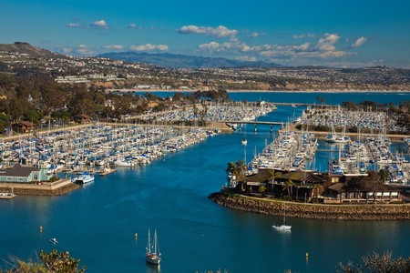 Aerial view of boats docked in Dana Point Harbor, southern Orange County, California.