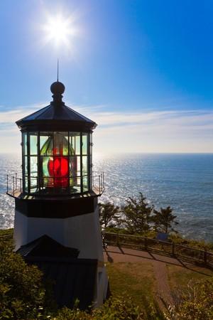 Lighthouse.  Cape Meares Lighthouse, Pacific Ocean, Oregon U.S.A.