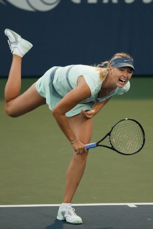 STANFORD UNIVERSITY, CA - JULY 27: Maria Sharapova, Russia, plays at the Bank of the West Classic vs. Zheng Jie, China, on July 27, 2010 in Stanford, CA  Editorial