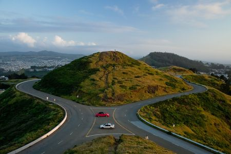 Twin Peaks Hill, San Francisco.  One of two hills at Twin Peaks at sunset. photo