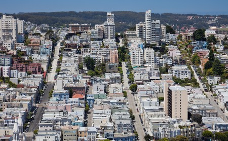 coit tower: San Francisco: View from Coit Tower. Stock Photo