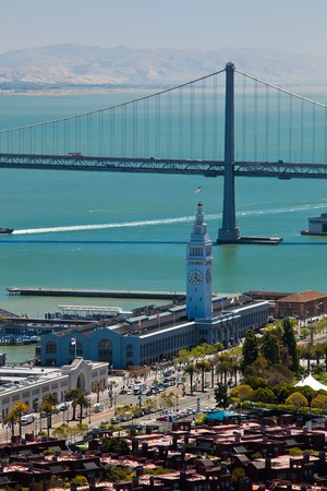 Port of San Francisco and San Francisco Bay. View from Coit Tower. photo