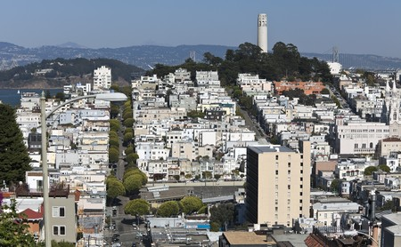 coit tower: Coit Tower is a 210-foot (64 m) tower located in the Telegraph Hill neighborhood of San Francisco, California. Stock Photo