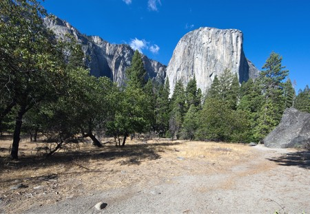 El Capitan-Yosemite National Park, California, U.S.A. El Capitan is a 3,000-foot (910 m) vertical rock formation in Yosemite National Park, located on the north side of Yosemite Valley, near its western end. The granite monolith is one of the worlds favo photo