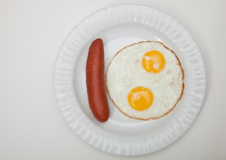 Breakfast.  Fried eggs and sausage.  photo