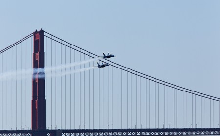 San Francisco Bay, San Francisco- October 7: US Navy Demonstration Squadron Blue angels, flying on Boeing FA-18 Hornet showing precision of flying and the highest level of pilot skills during 2010 San Francisco Fleet Week on October 7, 2010  in San Franc