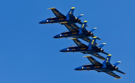 San Francisco Bay, San Francisco- October 8: US Navy Demonstration Squadron Blue angels, flying on Boeing F/A-18 Hornet showing precision of flying and the highest level of pilot skills during 2010 San Francisco Fleet Week on October 8, 2010  in San Franc