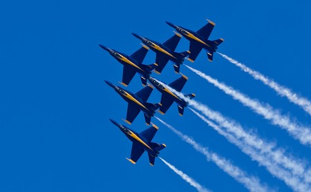 speed of sound: San Francisco Bay, San Francisco- October 8: US Navy Demonstration Squadron Blue angels, flying on Boeing FA-18 Hornet showing precision of flying and the highest level of pilot skills during 2010 San Francisco Fleet Week on October 8, 2010  in San Franc
