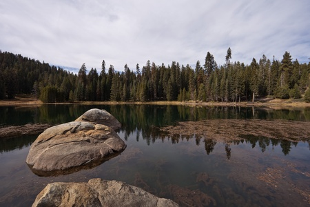 kings canyon national park: Montecito Sequoia Lodge next to private lake, Sequoia and Kings Canyon National Park. Stock Photo