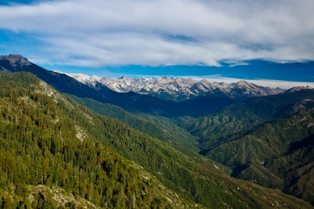 rock canyon: Views from Moro Rock in Sequoia and Kings Canyon National Park, California.  Moro Rock is a large granite dome also found in the Giant Forest area. Stock Photo