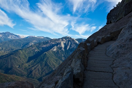 granite park: Views from Moro Rock in Sequoia and Kings Canyon National Park, California.  Moro Rock is a large granite dome also found in the Giant Forest area. Stock Photo
