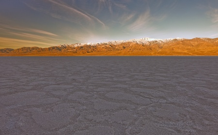 borax: Badwater Basin, Death Valley National Park, California. Badwater Basin is the lowest point in North America, with an elevation of 282 ft (86 m) below sea level. Stock Photo