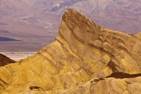 Manly Beacon from Zabriskie Point, Death Valley National Park, California. Stock Photo