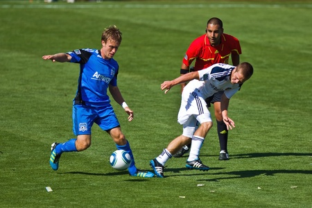 SANTA CLARA, CA - JUNE 25: Players compete during the MLS regular season soccer game Earthquakes vs LA Galaxy, on June 25, 2011 at the Buck Shaw Stadium in Santa Clara, CA. Stock Photo - 9880775