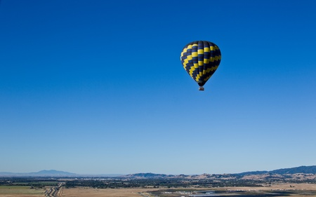Aerial landscape of Sacramento Valley: view from hot air balloon above the valley, California, USA. photo