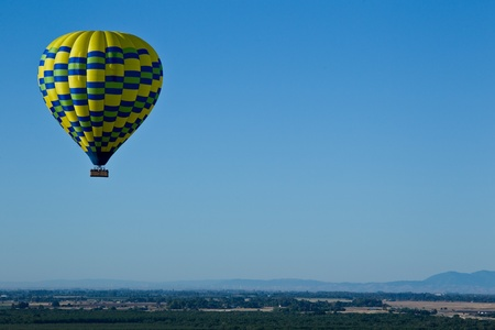 Aerial landscape of Sacramento Valley: view from hot air\ balloon above the valley, California, USA.