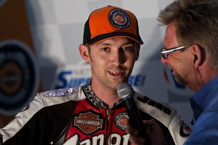 CALISTOGA, CA - OCTOBER 01: Jake Johnson (Harley-Davidson) first place winner at 2011 AMA Pro Flat Track Grand National Championship series, on October 01, 2011 at Calistoga Speedway, Calistoga, CA.