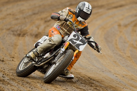 dirt: CALISTOGA, CA - OCTOBER 01: Unidentified rider participates at 2011 AMA Pro Flat Track Grand National Championship series, on October 01, 2011 at Calistoga Speedway, Calistoga, CA. Editorial