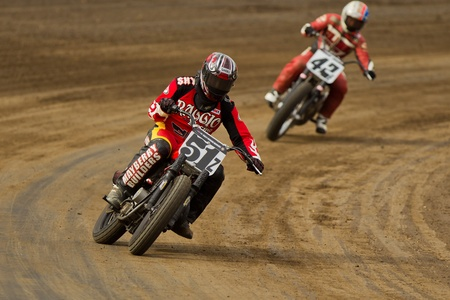 CALISTOGA, CA - OCTOBER 01: Unidentified rider participates at 2011 AMA Pro Flat Track Grand National Championship series, on October 01, 2011 at Calistoga Speedway, Calistoga, CA. Editorial
