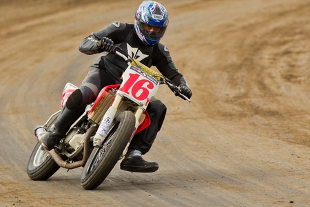 CALISTOGA, CA - OCTOBER 01: Unidentified rider participates at 2011 AMA Pro Flat Track Grand National Championship series, on October 01, 2011 at Calistoga Speedway, Calistoga, CA.