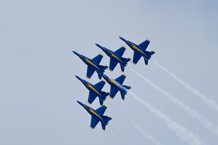 SAN FRANCISCO, CA - OCTOBER 6: US Navy Demonstration Squadron Blue Angels, flying on Boeing FA-18 Hornet showing precision of flying and the highest level of pilot skills during Fleet Week on October 6, 2011 in San Francisco, CA.