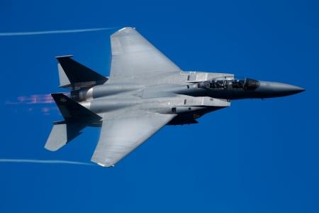 SAN FRANCISCO, CA - OCTOBER 7: Boeing F-15E Strike Eagle aircraft demonstration during 2011 Fleet Week on October 7, 2011 in San Francisco, CA.