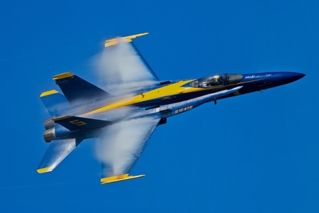 SAN FRANCISCO, CA - OCTOBER 7: US Navy Demonstration Squadron Blue Angels, flying on Boeing FA-18 Hornet showing precision of flying and the highest level of pilot skills during Fleet Week on October 7, 2011 in San Francisco, CA.
