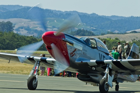 charles county: SANTA ROSA, CA - AUG 20: North American Aviation P-51D Mustang aircraft ready to taxi for takeoff during the Wings Over Wine Country Air Show, on August 20, 2011, Charles M. Schulz - Sonoma County Airport, Santa Rosa, CA.