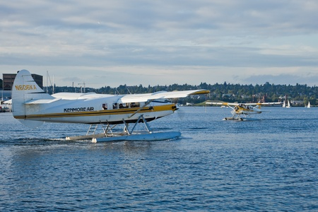 SEATTLE, WA - AUG 29: Kenmore Air aircrafts taxi at Lake Union Terminal, on August 29, 2011, Seattle, WA.