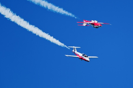 SAN FRANCISCO, CA - OCTOBER 7: The Snowbirds Demonstration Team (431 Squadron), demonstrate the skill, professionalism, and teamwork of Canadian Forces personnel during Fleet Week on October 7, 2011 in San Francisco, CA.  Stock Photo - 12469348