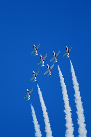 SAN FRANCISCO, CA - OCTOBER 7: The Snowbirds Demonstration Team (431 Squadron), demonstrate the skill, professionalism, and teamwork of Canadian Forces personnel during Fleet Week on October 7, 2011 in San Francisco, CA.
