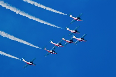 SAN FRANCISCO, CA - OCTOBER 7: The Snowbirds Demonstration Team (431 Squadron), demonstrate the skill, professionalism, and teamwork of Canadian Forces personnel during Fleet Week on October 7, 2011 in San Francisco, CA.  Stock Photo - 12469345