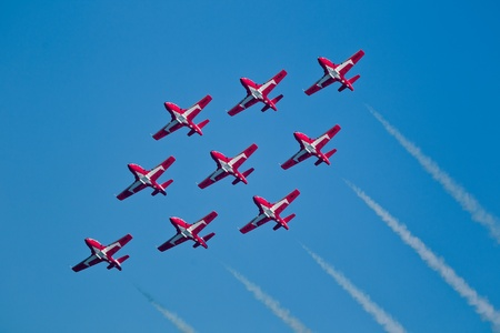 SAN FRANCISCO, CA - OCTOBER 8: The Snowbirds Demonstration Team (431 Squadron), demonstrate the skill, professionalism, and teamwork of Canadian Forces personnel during Fleet Week on October 8, 2011 in San Francisco, CA.  Stock Photo - 12469392