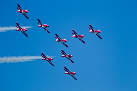 SAN FRANCISCO, CA - OCTOBER 8: The Snowbirds Demonstration Team (431 Squadron), demonstrate the skill, professionalism, and teamwork of Canadian Forces personnel during Fleet Week on October 8, 2011 in San Francisco, CA.  Stock Photo - 12469391