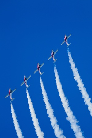 SAN FRANCISCO, CA - OCTOBER 8: The Snowbirds Demonstration Team (431 Squadron), demonstrate the skill, professionalism, and teamwork of Canadian Forces personnel during Fleet Week on October 8, 2011 in San Francisco, CA.  Stock Photo - 12469375