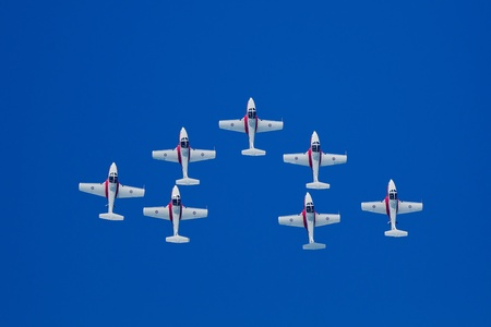 SAN FRANCISCO, CA - OCTOBER 8: The Snowbirds Demonstration Team (431 Squadron), demonstrate the skill, professionalism, and teamwork of Canadian Forces personnel during Fleet Week on October 8, 2011 in San Francisco, CA.  免版税图像 - 12469343