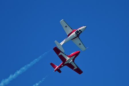 SAN FRANCISCO, CA - OCTOBER 8: The Snowbirds Demonstration Team (431 Squadron), demonstrate the skill, professionalism, and teamwork of Canadian Forces personnel during Fleet Week on October 8, 2011 in San Francisco, CA.  Stock Photo - 12469350