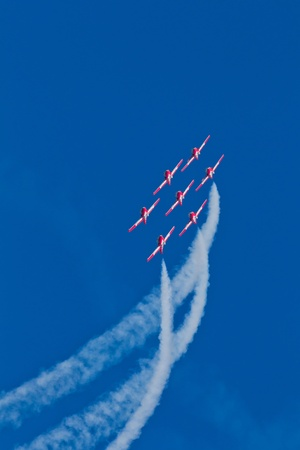 SAN FRANCISCO, CA - OCTOBER 9: The Snowbirds Demonstration Team (431 Squadron), demonstrate the skill, professionalism, and teamwork of Canadian Forces personnel during Fleet Week on October 9, 2011 in San Francisco, CA.  Stock Photo - 12469385